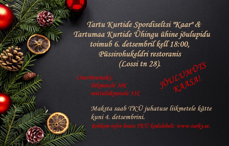 """Tartu Kurtide Spordiselts """"Kaar"""" kutsub 2019. aasta jõulupeole"""